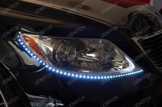 Headlight led strip lights ijdmtoy blog for automotive lighting audi style side shine flexible led strip lights aloadofball Images